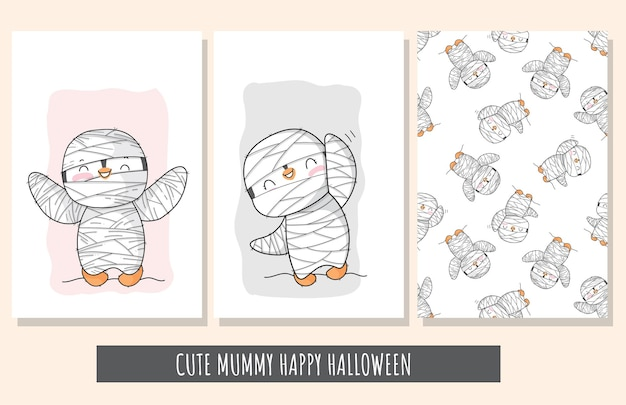 Flacher netter satz pinguinhexencharakter glückliche halloween-illustration für kinder