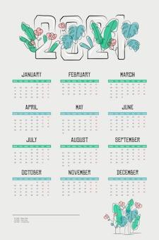 Flacher neujahrskalender 2021