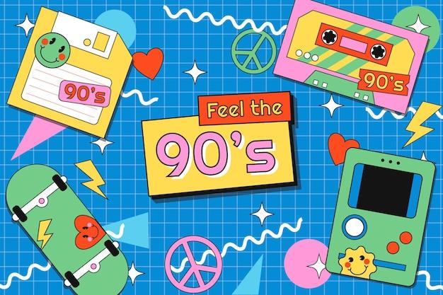 Flacher nostalgischer hintergrund der 90er jahre