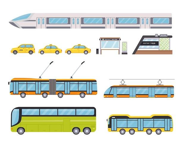 Flacher öffentlicher stadtverkehr und gelbes taxiauto. städtische fahrzeuge und bushaltestelle. cartoon trolleybus, u-bahn und straßenbahn vektor-set. stadtfahrzeuge oder transport isolierter elemente
