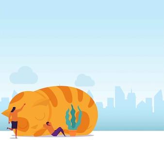 Flacher paarschlaf des katzenliebhabers, der auf der katze sich lehnt und den kopf der katze streichelt.