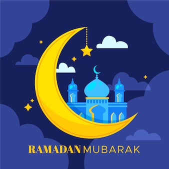 Flacher ramadan mubarak hintergrund