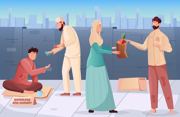 Flacher ramadan-wohltätigkeitshintergrund mit muslimischen menschen, die hungrigen und obdachlosen illustrationen geld und essen geben