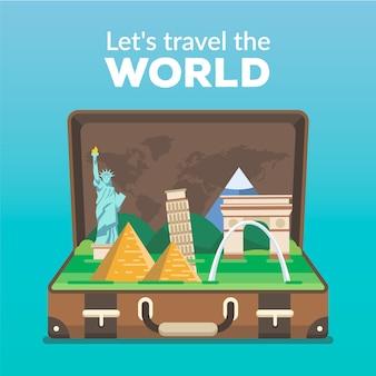 Flacher reisehintergrund mit offenem koffer