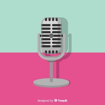 Flacher retro- mikrofonhintergrund