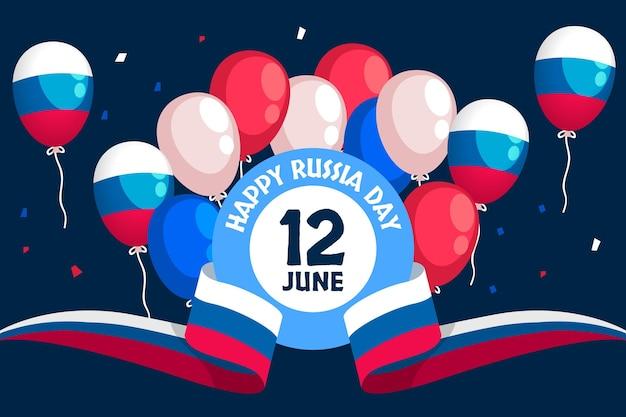 Flacher russland-tageshintergrund mit luftballons