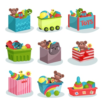 Flacher satz behälter voller kinderspielzeug. teddybären und dinosaurier, gummibälle und enten, bunte pyramiden