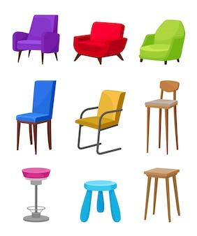 Flacher satz bequemer stühle und sessel. möbel für wohnzimmer, cafe bar und kindergarten
