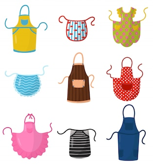Flacher satz bunte küchenschürzen. schutzkleidung. kochkleid für hausfrau oder küchenchef