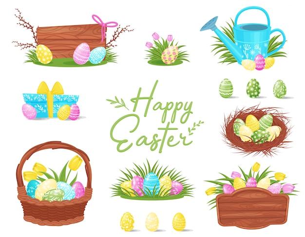 Flacher satz bunte osternikonen. bemalte eier in korb und nest, holzbretter, geschenkbox und gießkanne