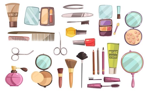 Flacher satz dekorative kosmetik für make-upwerkzeuge für maniküreparfüm und -bürsten lokalisierte vektor