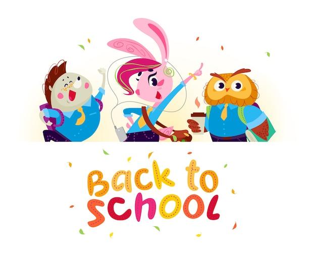 Flacher satz des glücklichen tierstudenten stehen hinter weißem papierbanner. zurück zur schule illustration
