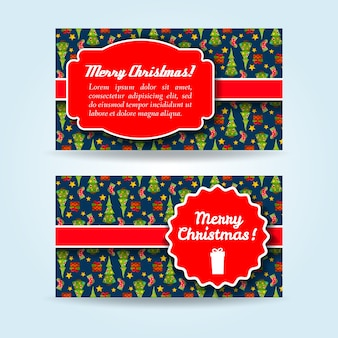 Flacher satz horizontaler feiertagsfahnen mit weihnachtsbäumen