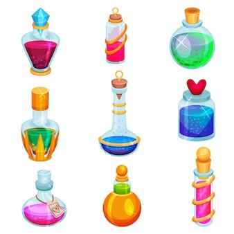 Flacher satz kleiner flaschen mit tränken. verschiedene glasfläschchen mit magischen elixieren. giftige flüssigkeiten