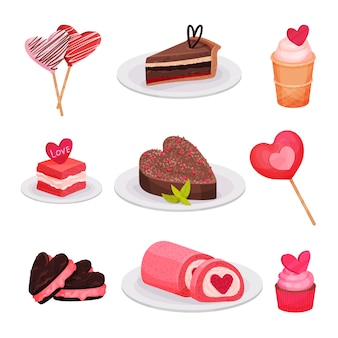 Flacher satz köstlicher valentinstagdesserts. kuchen, eis, lutscher auf stöcken, sandwichkekse