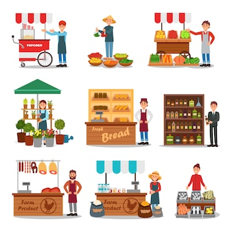 Flacher satz straßenverkäufer, der verschiedene produkte verkauft. verkäufer in der nähe von wagen. lokaler bauernmarkt. frisches essen auf theken
