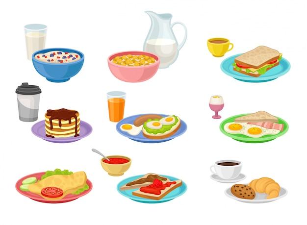 Flacher satz von essens- und getränkeikonen. leckeres frühstück. appetitliche morgenmahlzeit. ernährungsthema