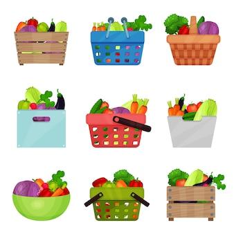 Flacher satz von holzkisten, schüssel, behältern, einkaufs- und picknickkörben mit frischem gemüse. natürliches und gesundes essen