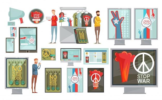 Flacher satz webmediendruck und geschenksozialpropaganda lokalisiert auf weißem hintergrund