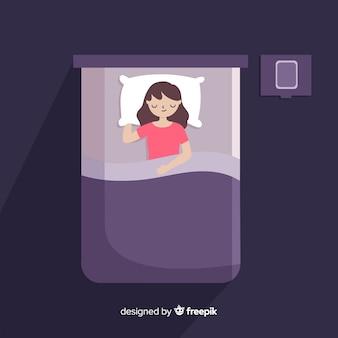 Flacher schlafenhaltungshintergrund der draufsicht