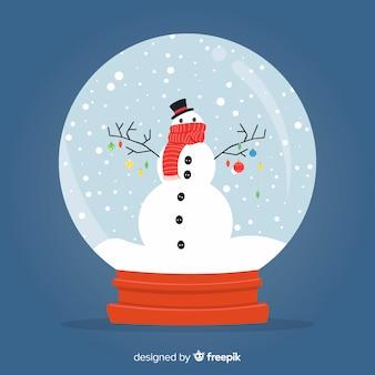 Flacher schneemannweihnachtsschneeball