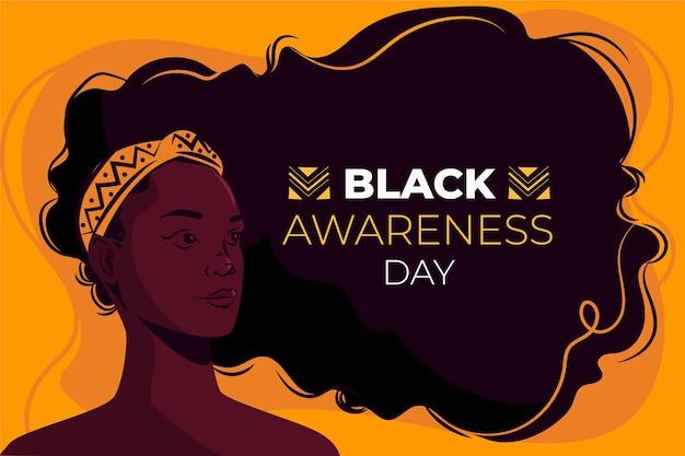 Flacher schwarzer bewusstseinstag