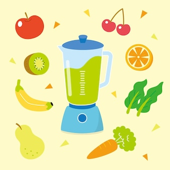 Flacher smoothie im mixerglas