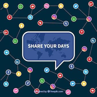 Flacher social media-hintergrund mit bunten ikonen