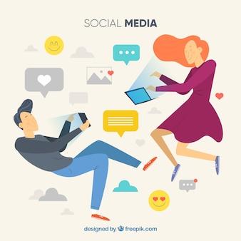 Flacher social media-hintergrund mit charakteren