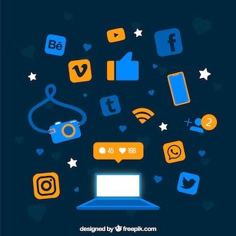 Flacher social media-hintergrund mit computer