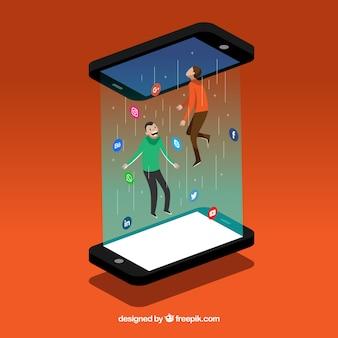 Flacher social media-hintergrund mit handy