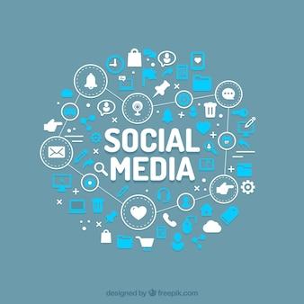Flacher social media-hintergrund mit vielzahl der ikonen