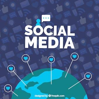 Flacher social media-hintergrund mit welt grlobe