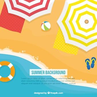 Flacher sommerhintergrund mit sonnenschirmen