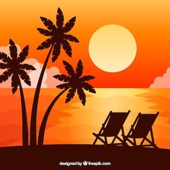 Flacher sonnenunterganghintergrund mit palmen