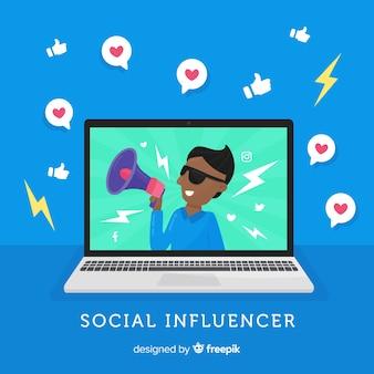 Flacher sozialer influencer