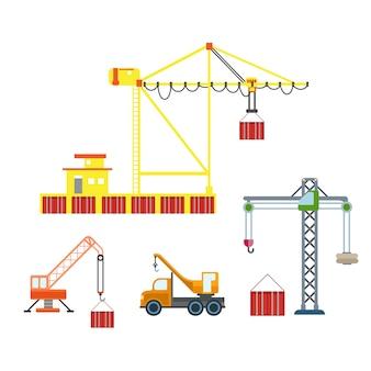 Flacher stadtkranbau seehafen container box logistik transport set. bauen sie ihre eigene weltsammlung auf.