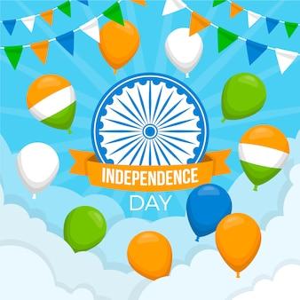 Flacher tag der indischen republik mit ballonen