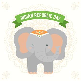 Flacher tag der indischen republik mit elefantillustration