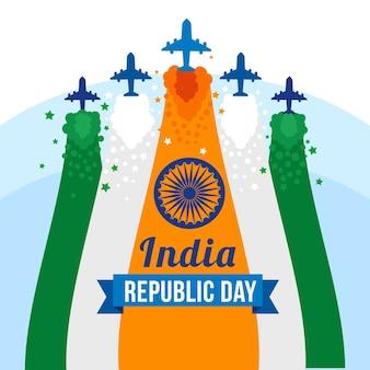 Flacher tag der indischen republik mit flugzeugen
