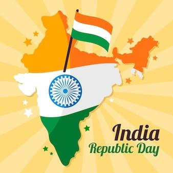 Flacher tag der indischen republik mit hirsch