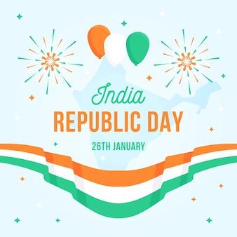 Flacher tag der republik mit flagge und luftballons
