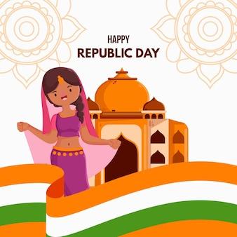 Flacher tag der republik mit indischem tänzer