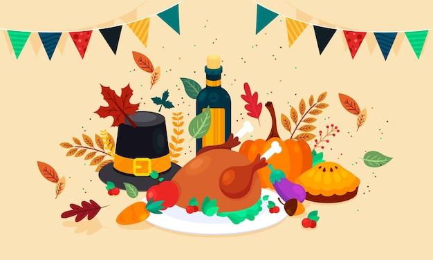 Flacher thanksgiving-hintergrund