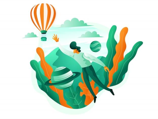Flacher tourist, der mit luftballons schleicht