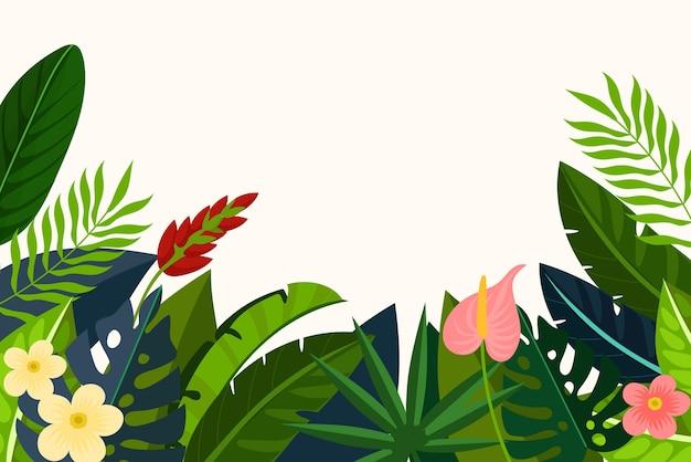 Flacher tropischer blätterhintergrund