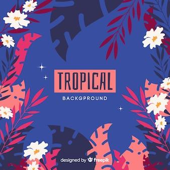 Flacher tropischer pflanzenrahmenhintergrund
