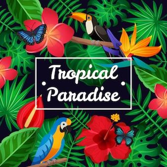 Flacher tropischer rahmen