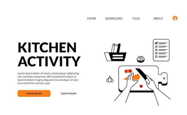 Flacher umriss moderne illustrationsküchenaktivität handgeschnittenes essen mit messer auf dem schneidebrett für die zubereitung des kochens