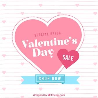 Flacher valentinsgrußverkaufshintergrund